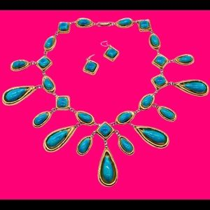 HOT Gold & Turquoise Ceramic Necklace + Earrings